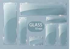 Transparent Glass plates set. Square shape, rectangle and round circle. See through mock up with mounts. Plastic banners with reflection and shadow. Photo Stock Photo