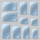 Transparent glass plates. Transparency only in vector file Stock Photo