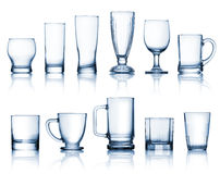 Transparent glass set Royalty Free Stock Images