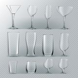 Transparent Glass Set Vector. Transparent Empty Glasses Goblets For Water, Alcohol, Juice, Cocktail Drink. Realistic royalty free illustration