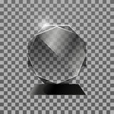 Transparent Glass shiny award. Isolated on dark background. Transparent Glass shining award. Trophy Isolated on dark background. Vector illustration, eps 10 Royalty Free Stock Images