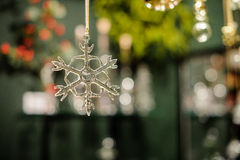 Transparent glass  snowflake christmas tree decor Royalty Free Stock Photo