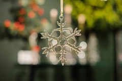 Transparent glass  snowflake christmas tree decor Royalty Free Stock Photography