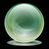 Transparent Glass Sphere-Ball. Illustration of green transparent glass globe on a black background Stock Photography
