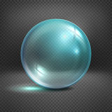 Transparent glass sphere isolated on checkered background vector illustration Royalty Free Stock Photo