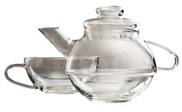 A transparent glass tea-set Royalty Free Stock Photos