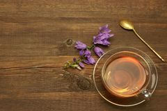 Transparent Glass Teacup And Gold Teaspoon On Rough Wood Table Royalty Free Stock Photos