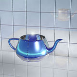 Transparent glass teapot with light blue light Stock Photos