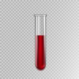 Transparent glass test tube with blood, vector stock images