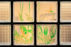Transparent Glass Tiles with Colorful Flower Paint. Transparent Glass Tiles with a Colorful Flower Paint Background Stock Photography