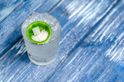 Transparent glass with tonic, with ice and lime Stock Photography