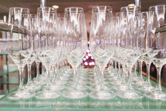 Transparent glasses for beverages, wine and champagne during the event. Royalty Free Stock Photos