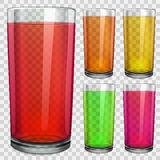 Transparent glasses with transparent colored juice Royalty Free Stock Photography