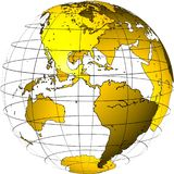 Transparent globe: America. Computer generated globe: North and South America in front; globe is generated with GIMP from world map; transparent globe on white stock illustration