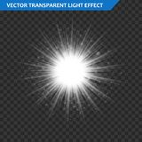 Transparent glow light effect. Star burst with sparkles. Gold glitter. Royalty Free Stock Images