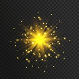 Transparent glow light effect. Star burst with sparkles. Gold glitter. Royalty Free Stock Photography