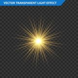 Transparent glow light effect. Star burst with sparkles. Gold glitter. Stock Images