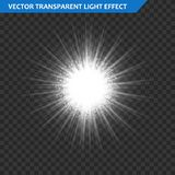 Transparent glow light effect. Star burst with sparkles. Gold glitter. Stock Photography