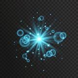 Transparent glow light effect. Star burst with sparkles. Gold glitter. Stock Photo