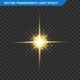 Transparent glow light effect. Star burst with sparkles. Gold glitter. Stock Image