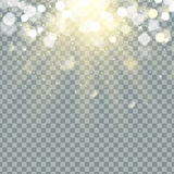 Transparent glow light effect. Star burst with sparkles.  Royalty Free Stock Images