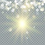 Transparent glow light effect. Star burst with sparkles. Gold glitter. vector. Stock Image