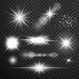 Transparent glow light effect. Star burst with sparkles.