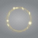 Transparent glow light effect. Star burst with sparkles. Gold glitter royalty free stock photography