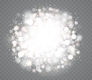 Transparent glowing snow effects with sparkles. Royalty Free Stock Photos