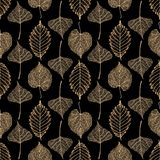 Transparent gold skeleton leaves autumn seamless pattern vector illustration