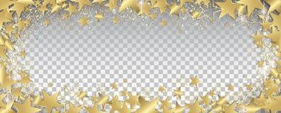 Transparent gold stars banner. Transparent gold stars and glitter full  banner Stock Image