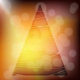 Transparent Gold Xmas Tree with Bokeh Effect Stock Photos