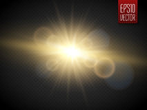 Transparent Golden Glow light effect. Star burst with sparkles Stock Photos