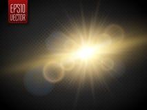 Transparent Golden Glow light effect. Star burst with sparkles Stock Image