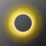 Transparent golden round shiny frame background with lights isol Royalty Free Stock Photo