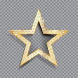 Transparent golden star Royalty Free Stock Photos