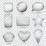 Transparent gray glass shapes Royalty Free Stock Images
