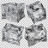Transparent gray ice cubes. Set of four transparent ice cubes in gray colors. Transparency only in vector file Stock Photo