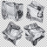 Transparent gray ice cubes. Set of four transparent ice cubes in gray colors. Transparency only in vector file Stock Photography