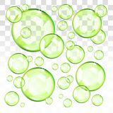 Transparent green bubbles with transparent background. Transparent green bubbles. Eps 10 editable, gradients with transparency. Easy to pu over any background vector illustration
