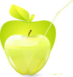 Transparent green glass apple with a tube Stock Photography