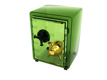 Transparent green safe Royalty Free Stock Photo