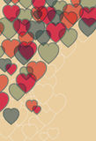 Transparent heart background. Transparent effect simulated. Main hearts, background outlines, background fill are all on separate layers royalty free illustration