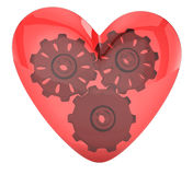 Transparent heart and gears Royalty Free Stock Image