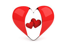 Transparent heart with two red hearts Royalty Free Stock Image