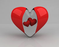 Transparent heart with two red hearts inside Royalty Free Stock Image