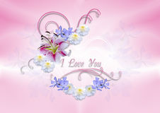 Transparent hearts covered with white lily with flowers and curls Stock Images