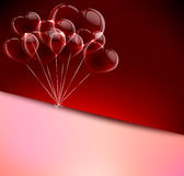 Transparent hearts on dark red Royalty Free Stock Photography