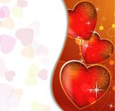 Transparent hearts with a gold border Royalty Free Stock Images