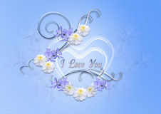 Transparent hearts with periwinkle blue and asters on a blue background Stock Photography